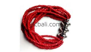 bali beads bracelets stretch red handmade jewelry