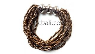 bali golden beads multi strand bracelets stretches