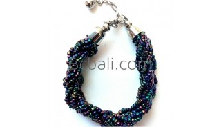 beads abalone glass bracelets charms circle
