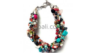 multi color stone beads bracelets fashion accessories 2015