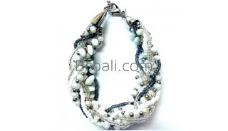 white stone beads bracelets charm accessories bali