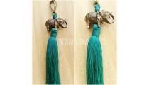 key rings tassels bronze golden elephant caps polyester bali
