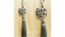 key rings tassels polyester grey silver bronze caps flower