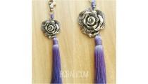 keyrings tassels purple silver bronze caps flower
