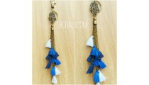 multi tassels key chains charms polyester blue