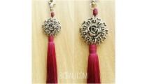 tassel polyester silver bronze flower keychain red