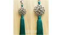 tassel polyester silver bronze flower keychain turquoise