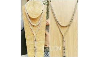 multiple strand beads beige necklaces double