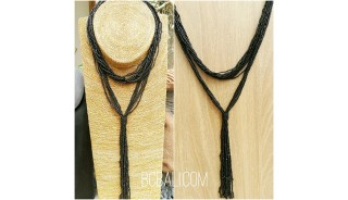 multiple strand beads black necklaces double wrist