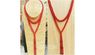 multiple strand beads red necklaces double wrist