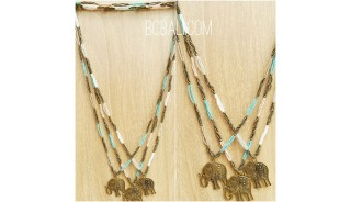 three color golden bronze elephant necklace beads
