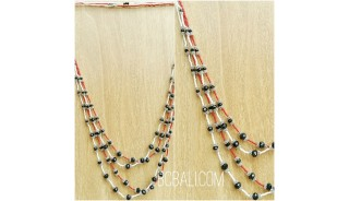 two color crystal beads necklaces layer bali