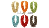 multiple strand bead necklace short solid color made in bali