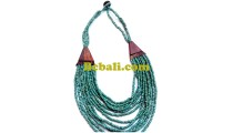 choker bead turquoise necklace multiple strand wood