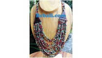 mixed color glass bead choker ethnic design necklaces bali