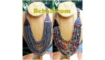 two color necklace chokers seed bead wood ethnic