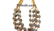 untique bead beige color 5strand necklace handmade bali