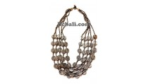women fashion necklace charm choker 5strand glass beads