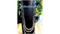 bali triangle silver boll beaded necklace handmade