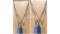 crystal bead stone tassel triangle necklaces designs