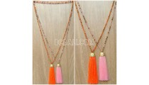 handmade tassel necklace 2color design golden bead