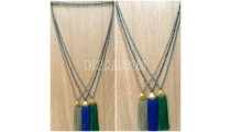 handmade tassel necklace 3color design crystal bead
