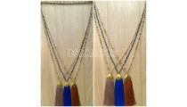handmade tassel necklace antiq design crystal bead