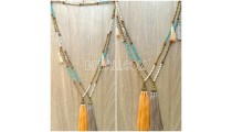 mala wooden beads necklace tassel pendant charms