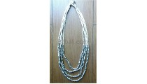 bead necklace four strand charm steel made in indonesia