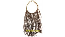 choker necklaces multiple strand glass bead long