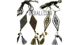 4 designs crystal beads miyuki pendant necklaces tassels