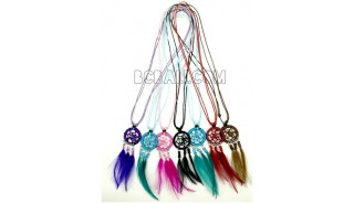 necklaces dream catcher pendant feather strings