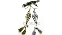 two necklaces pendants tassel beads miyuki crystal