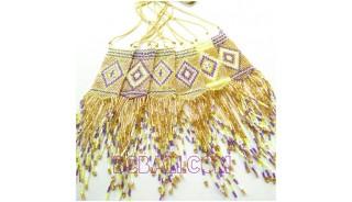 golden crystal beads miyuki necklace sequare