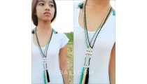 fresh water pearls with crystal beads tassels jewelry necklace