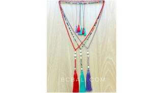 fresh water pearls with crystal beads tassels necklaces