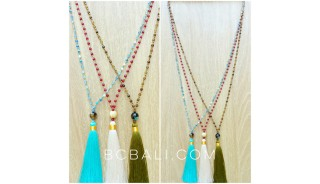 bali glass ceramic beads long seeds tassels necklaces