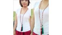 glass beads ceramic longest seeds tassel necklaces bali