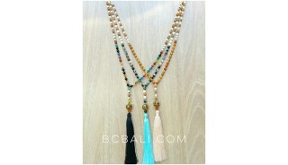 rudraksha wood necklaces tassels with glass beads