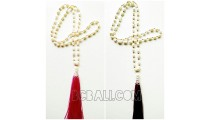 bali tassels necklace with pearl shell fresh water