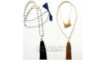 triple tassels necklace pendant fresh pearls shells