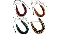 4color shown chokers necklaces wood beaded