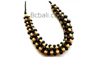 bali solid wood seeds beads choker necklace