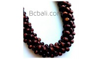 solid wooden beaded chokers necklaces tropical