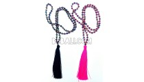 bali tassel necklace beaded crystal pendant long