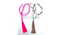 crystal beads necklaces pendant tassel two color
