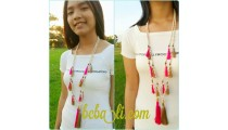 multi tassels wooden bead mala necklaces bali