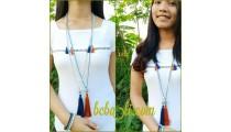 triple tassels necklaces pendant beads pyrus