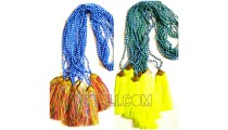 2 color fashion necklaces beaded stone pendant tassels