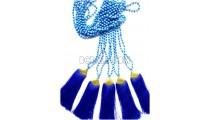 golden chrome tassel blue stone bead necklaces